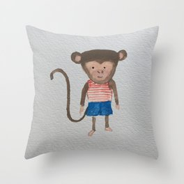 Monkey Jungle Friends Baby Animal Water Color Throw Pillow
