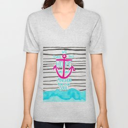 We Have This HOPE - Anchor (pink/blue) Unisex V-Neck