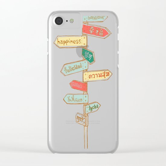 Happiness is everywhere Clear iPhone Case
