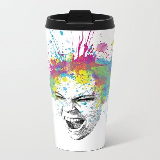 Crazy Colorful Scream Metal Travel Mug