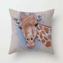 Giraffe: Color Pencil Drawing or a Giraffe Looking at You Throw Pillow