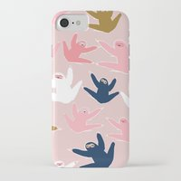 sloths iPhone & iPod Cases featuring Pattern with sloths by Darish