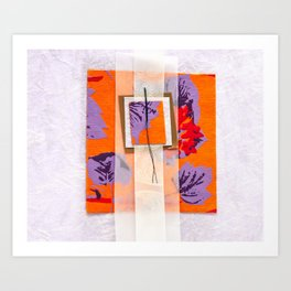 Orange Fanciful Paper Art. Art Print