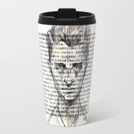 Male Doodle on Asian Text 1 Travel Mug