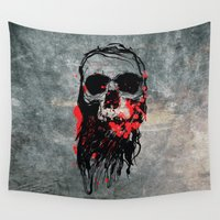 blood Wall Tapestries featuring Blood Skull by Spooky Dooky