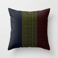 chad wys Throw Pillows featuring digital Flag (Chad) by seb mcnulty