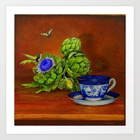 Teacup with Artichokes Art Print