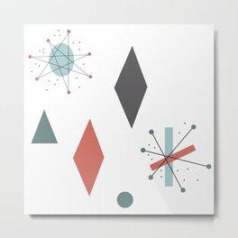 Mid Century Modern Abstract Pattern Design Metal Print