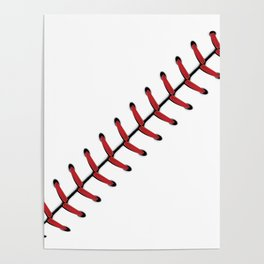 Baseball Lace line Poster