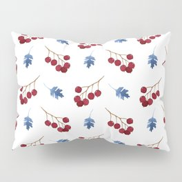 Red berries and blue watercolor leaves pattern Pillow Sham