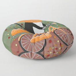 Tuxedo Cat Autumn Bicycle Ride Floor Pillow