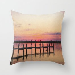 Sunset In Downtown Chincoteague II Throw Pillow