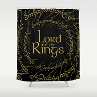 lord of the rings Shower Curtains featuring The Lord Of The Rings by Janismarika