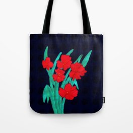 Red flowers gladiolus art nouveau style Tote Bag
