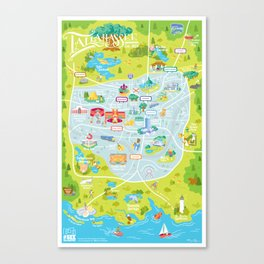Illustrated Map of Tallahassee Canvas Print