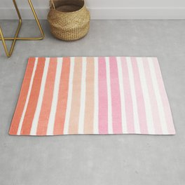 Camil - ombre gradient brushstrokes abstract painting minimalist seaside coastal beach cottage decor Rug