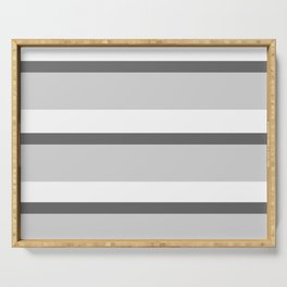 Strips - white and gray. Serving Tray