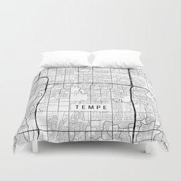 Tempe Map, Arizona USA - Black & White Portrait Duvet Cover
