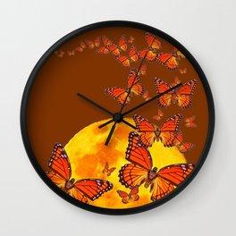 MONARCH BUTTERFLIES GOLDEN MOON BROWN FANTASY Wall Clock