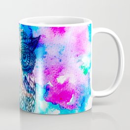 Floral owl illustration pink blue watercolor Coffee Mug