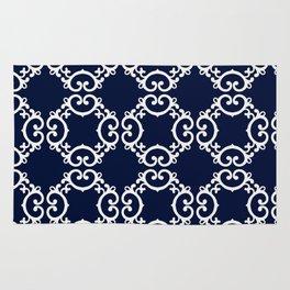 Blue Lace Diamond Pattern Rug