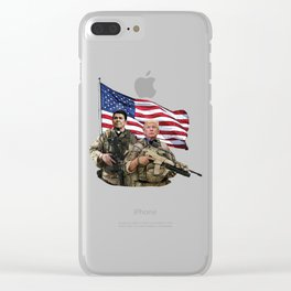 Presidential Soldiers: Ronald Reagan & Donald Trump USA Flag Clear iPhone Case