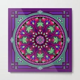Boho Floral Crest Purple and Pink Metal Print