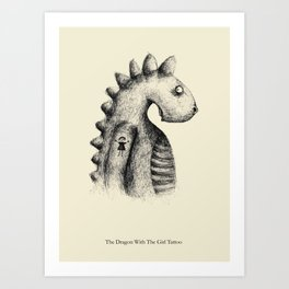 The Dragon With The Girl Tattoo Art Print