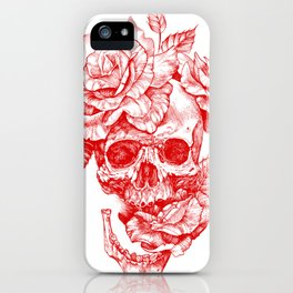 Roses and Human Skull - Red iPhone Case
