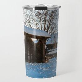 Sun star in a Romanian Village in winter Travel Mug
