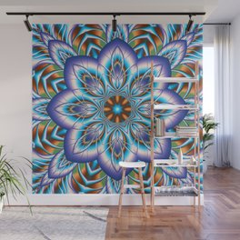 Fantasy flower in purple and blue Wall Mural