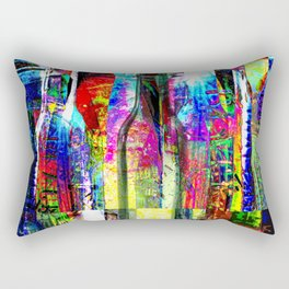 Colorful Glass Bottles Collage Rectangular Pillow