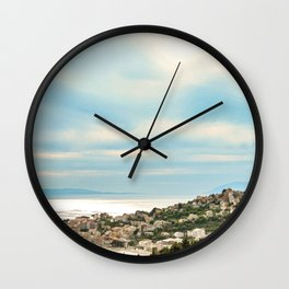 European Sunset | Colorful Costal Clouds Skyline Charming Ocean Town Baby Blue Yellow Tones Wall Clock