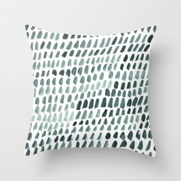 Teal and White Dots Pattern Throw Pillow