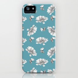 Hand painted gray white watercolor floral daisies iPhone Case