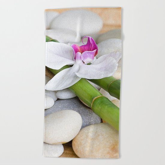 white Orchid flower  and green Bamboo still life Beach Towel