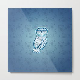 Blue ornamental owl Metal Print