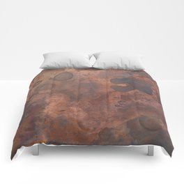 Tarnished, Stained and Scratched Copper Metal Texture Industrial Art Comforters
