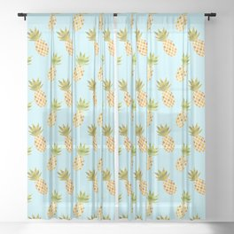 Blue Tropical Pineapple Pattern Sheer Curtain