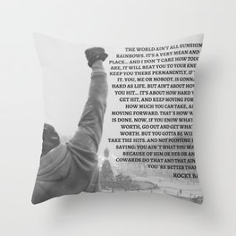 Rocky Balboa, Rocky poster, Rocky, Boxing, boxing speech, Inspirational Wall art, rocky balboa quote Throw Pillow