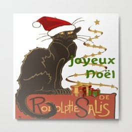 Joyeux Noel Le Chat Noir Christmas Parody Metal Print