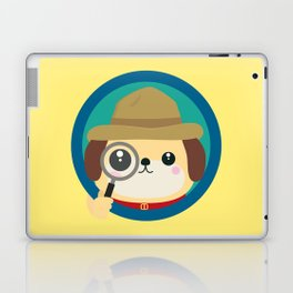 Dog detective with magnifying glass Laptop & iPad Skin