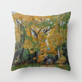 Bridge Through the Birch Throw Pillow