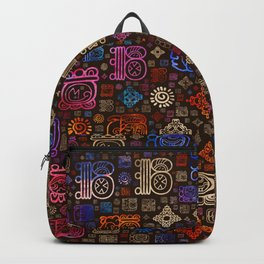 Mayan glyphs and ornaments pattern #3 Backpack