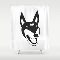doberman Shower Curtains featuring Doberman by anabelledubois