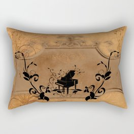 Music, piano with floral elements on vintage background Rectangular Pillow