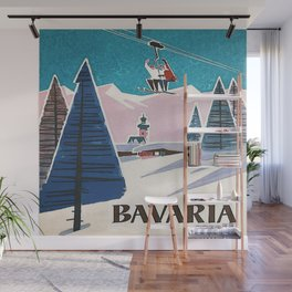 Bavaria, Germany Vintage Ski Travel Poster Wall Mural