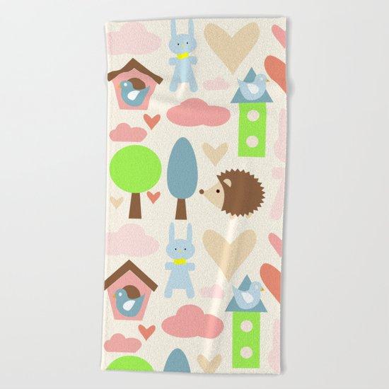Bunny fun land Beach Towel