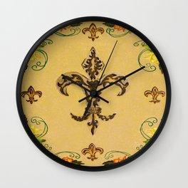 Fluer de lis (warm) Wall Clock