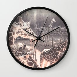 Giraffes // Spotted Long Neck Graceful Creatures in Wildlife Preserve Wall Clock